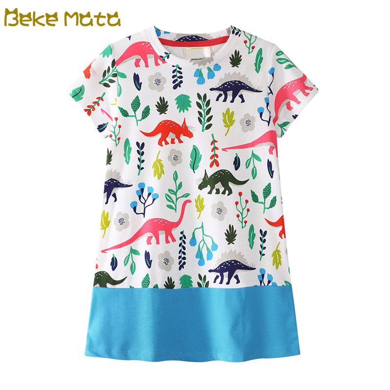 BEKE MATA Baby Dress Summer 2018 European-American Style Dinosaur Print Todder Girl Princess Dress Kids Clothes Children Costume