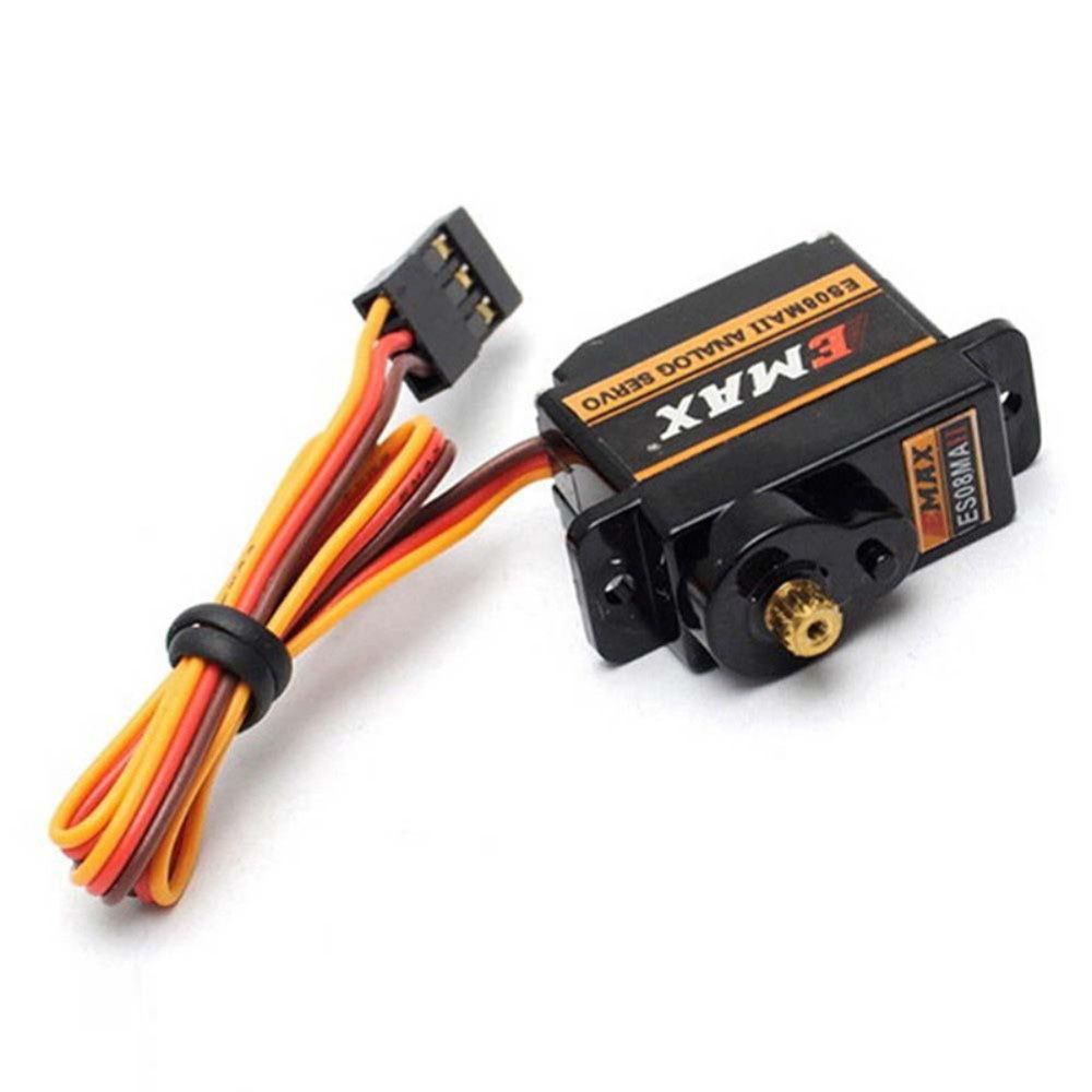 1PC EMAX ES08MA II Mini Metal Gear Analog Servo Digital Micro Steering Servos Gear 4.8-6V 200mA for 450 RC Helicopters 1pc original emax es08ma ii mini metal gear analog servo 12g 1 8kg high speed upgrade es08ma