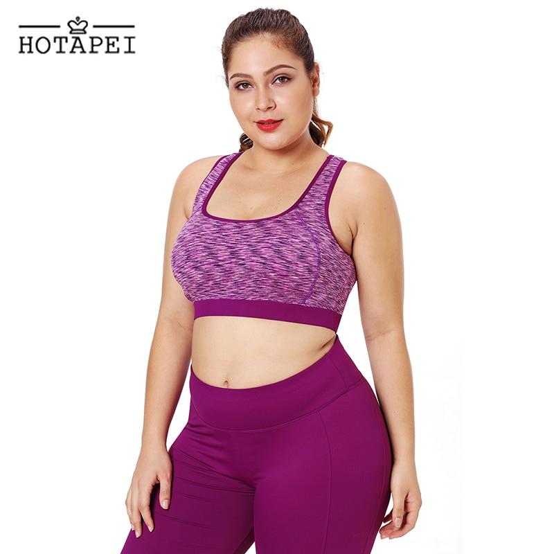 14ec03164480b ... HOTAPEI Wirefree Running Gym Quick Dry Seamless Yoga Plus Size Sports  Bra ...