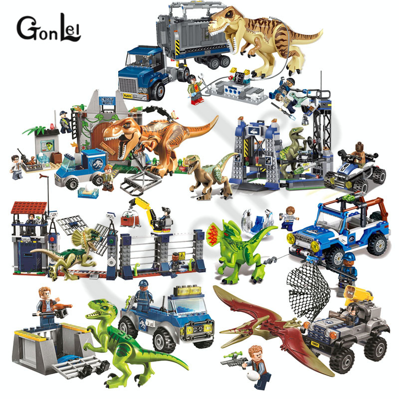 NEW 10925 Jurassic Parked Blue's Helicopter Pursuit Bricks Compatible With Jurassic Worlds Model Building Block DIY Toys