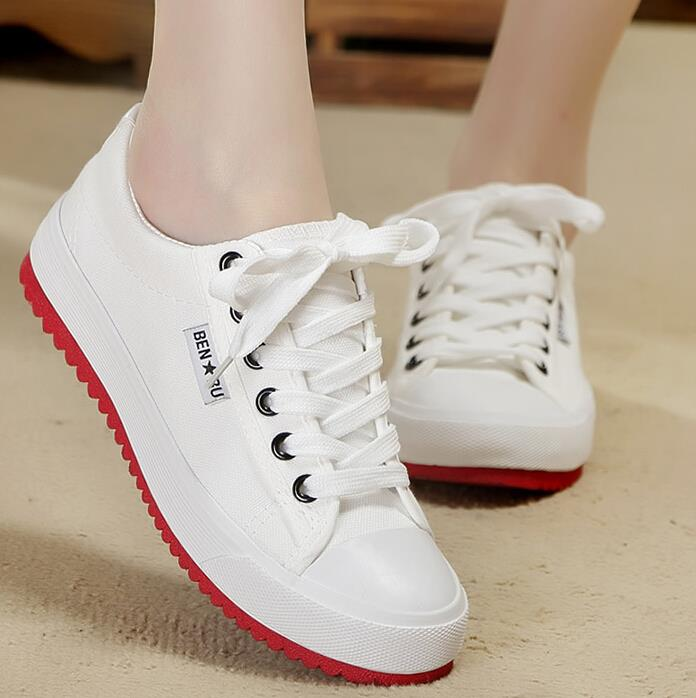 New 2016 Red Bottom Casual Shoes for font b Women b font Canvas Sponge Height Increasing