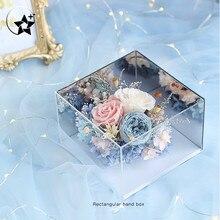 Кристально прозрачный держатель для цветов, акриловая Подарочная коробка, коробка для цветов, органайзер для макияжа, искусственный букет цветов, Подарочная коробка, упаковка