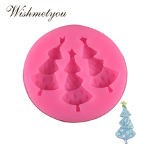 WISHMETYOU NEW 3Pc Christmas Tree Silicone Soap Mold Sugar Biscuit Chocolate Cake Decorating Tools Food grade DIY