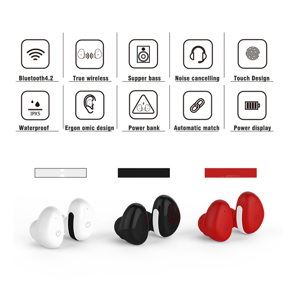 OKCSC Bluetooth Earphone Touch Wireless Sport Headset In Ear Portable Earpads with Power Storage for phone Samsung
