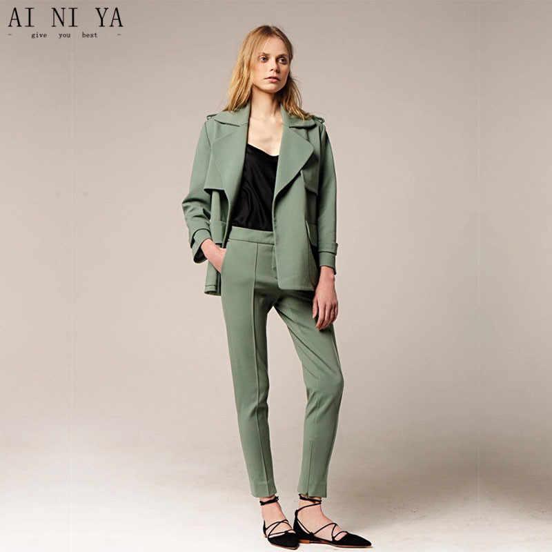 4e9f335a78b Куртка + Брюки для девочек Для женщин Бизнес Костюмы Формальное темно-зеленый  офис единые дамы