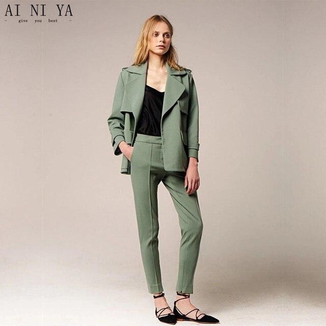 255d9c9b71 Kurtka + spodnie damskie garnitury biurowe formalne ciemnozielone biuro  jednolite style panie eleganckie garsonki ze spodniami