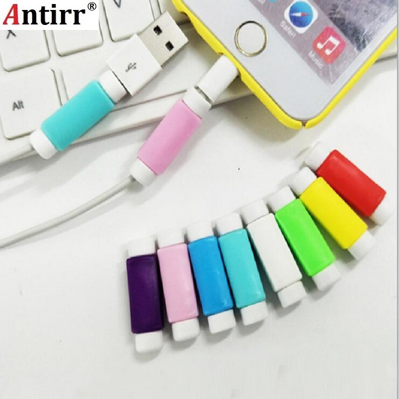 10pcs/lot USB Charger Earphone Cable Protector Colorful Earphones USB Data Cable Cover For IPhone Samsung HTC Free Shipping