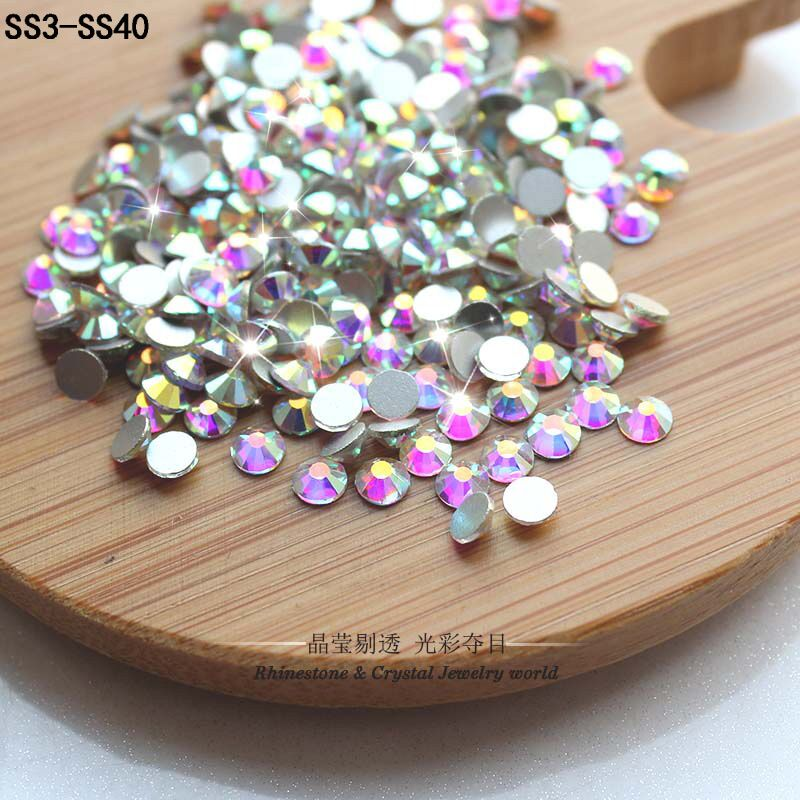 QIAO Glitter Rhinestones Crystal AB SS3-SS40 Non Hot Fix FlatBack Strass Sewing & Fabric Garment Rhinestone Nail Art Stone(China)