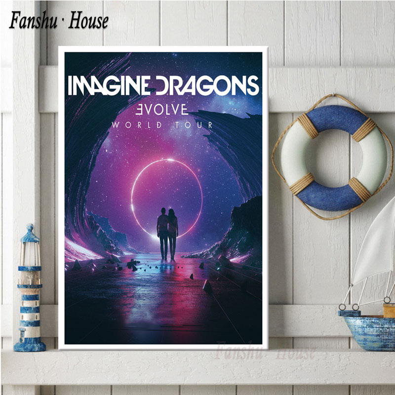 imagine dragons poster evolve pop music group posters and prints canvas painting wall art picture for living room home decor