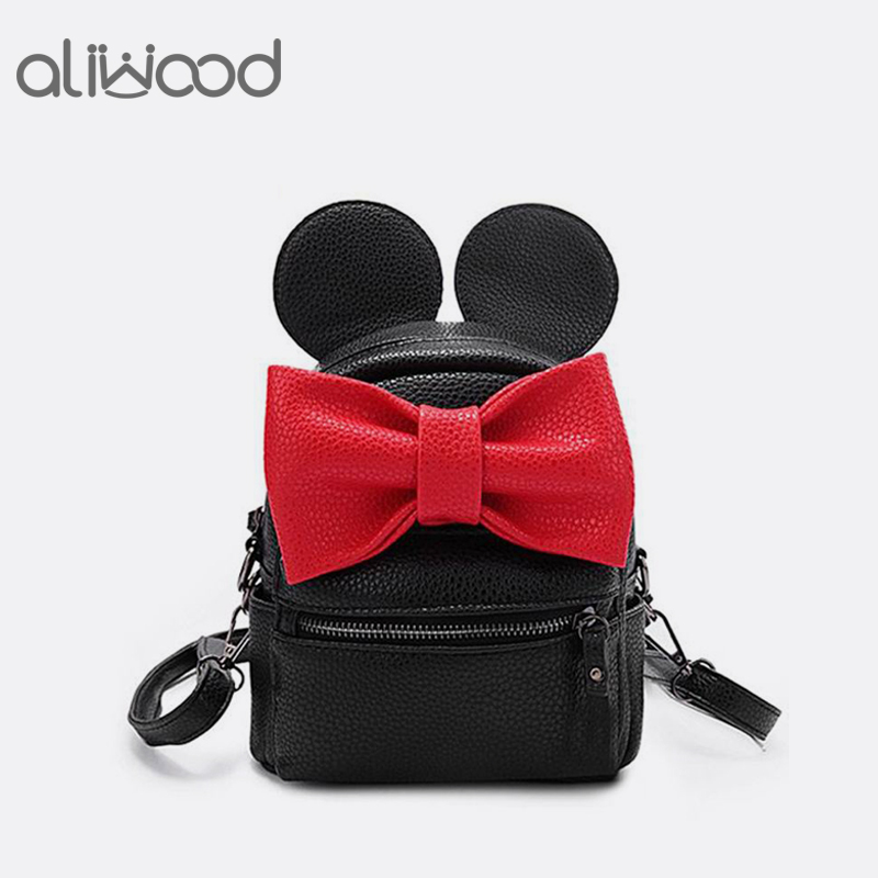 Mickey Backpack 2018 New Female Bag High Quality Pu leather Mini Women Backpack Cute bow Ladies Travel Rucksack Bolsas Feminina isudar car multimedia player 2 din car dvd for vw volkswagen golf polo tiguan passat b7 b6 seat leon skoda octavia radio gps dab
