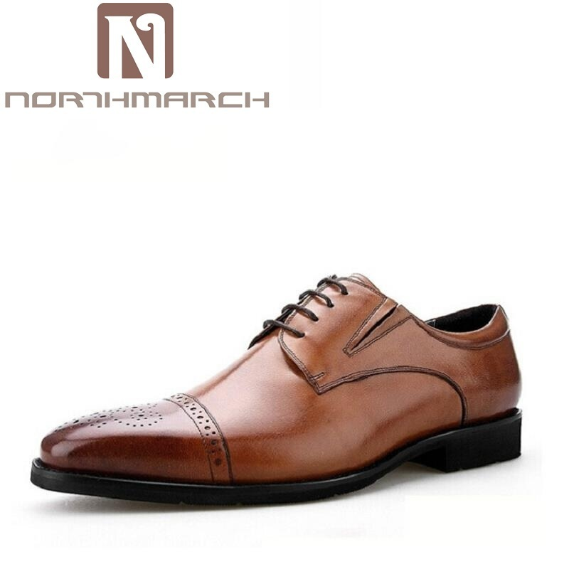 NORTHMARCH Brand Fashion Brogue Men Oxford Autumn Lace Up Casual Leather Shoes For Men British Style Dress Shoes Heren Schoenen князева а подвеска кончиты