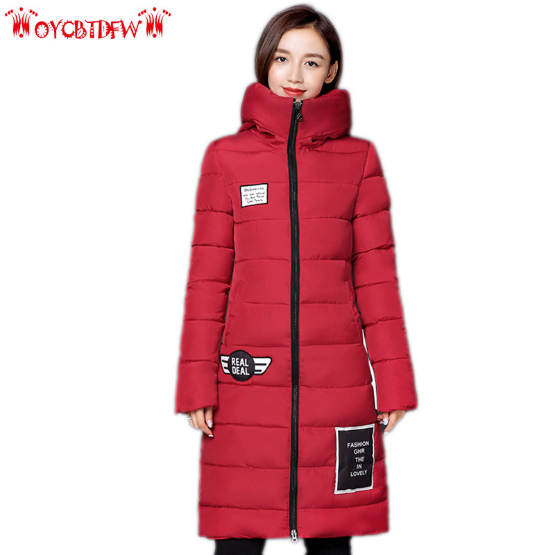 Winter Women feather Cotton Jacket 2018 new fashion pure color Large size mid-long thickening hooded warm female outerwear ll835