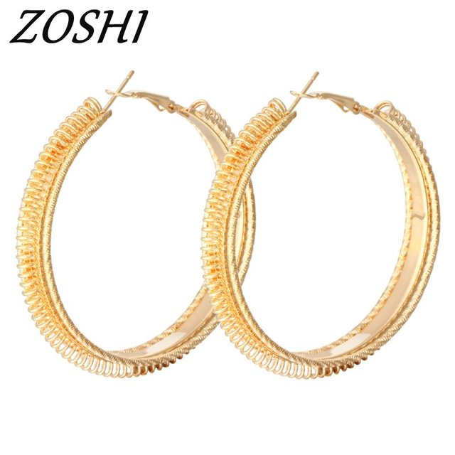 Vintage Circle Hoop Earrings Matte Gold Color Earings For Women Long Earring Jewelry