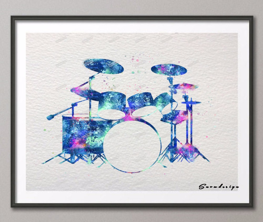 DIY Original watercolor Drum kit set canvas painting wall art poster ...