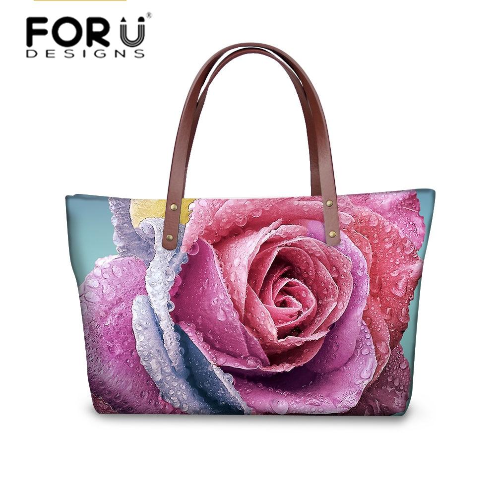 FORUDESIGNS Rose Printing Shoulder Bags Women Fashion Bao Bao Lady Handbag Large Tote Casual Bolsa Feminina Messenger Bag паяльник bao workers in taiwan pd 372 25mm