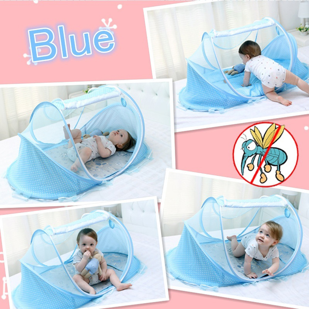 Portable Foldable Crib With Netting Newborn Cotton Baby Sleep Travel Bed E2N2