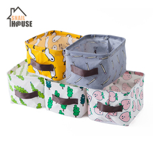 Snailhouse Cotton Hemp Cloth Art Desktop Storage Basket Rectangular fruit Laundry Baskets Sundry Organizer