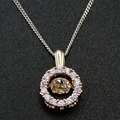 Fine Necklace 100% 925 Sterling Silver Dancing CZ Crystal  Pendant Necklace Yellow Gold Plated Women Jewelry with Chain