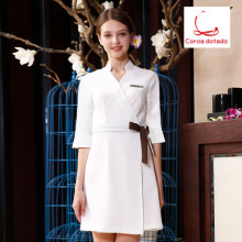 Beauty salon four seasons uniform dress nurse manicure beautician short women Coroa