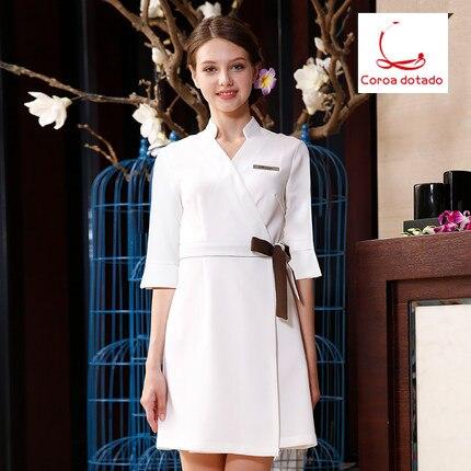 Salon de beauté quatre saisons uniforme robe infirmière uniforme manucure esthéticienne uniforme robe courte femmes Coroa