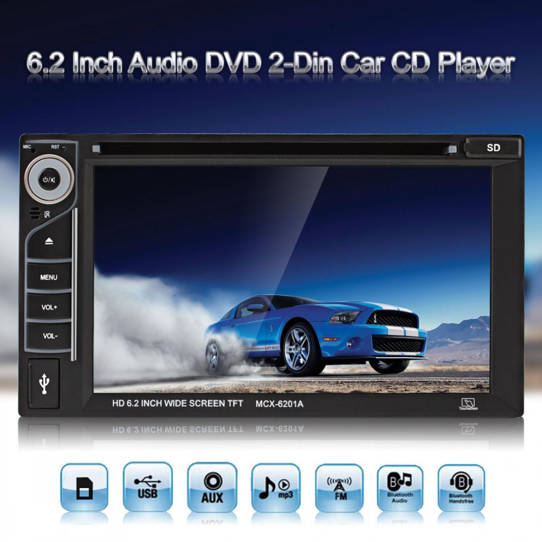 6.2 Inch 6201A Audio DVD SB / SD Bluetooth 2-Din Car CD Player with Remote Control home car cd player 4 channel audio amplifier with remote control and bluetooth function good sound quality