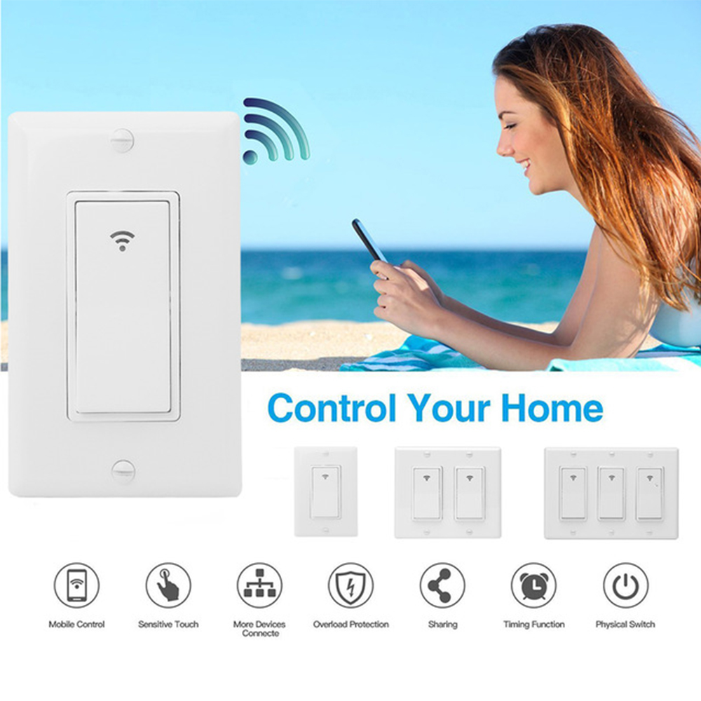 Timethinker Smart Light Wifi Switch US 3 Gang Wall Switch Interrupter Remote Control for Alexa Google Home IFTTT Smart Life APP