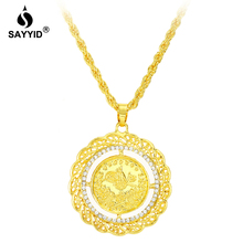 все цены на Middle East Saudi Arabia Hot Sale Badge Pendant Necklace for Men's Fashion Plating yellow gold color inlay Rhinestone Necklace онлайн