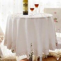 150 CM/175 CM Chaude broderie Table Tissu hôtel tissu nappe tapis de table de couverture coureur crème jardin la maison Décembre gros FG706