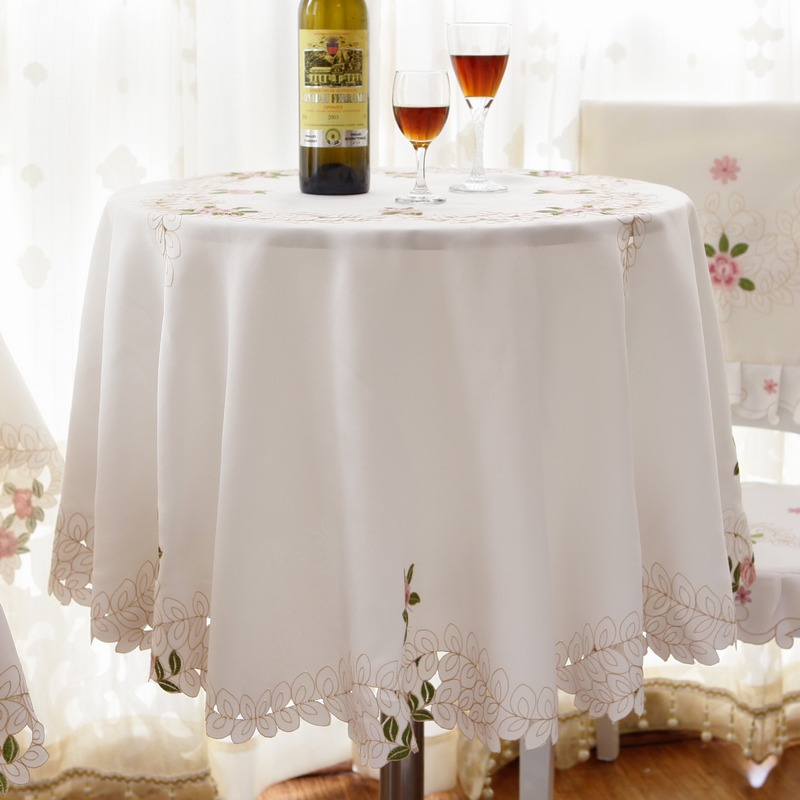 150CM/175CM Hot Embroidery Table Cloth Hotel Cloth Tablecloth Table Mat  Cover Runner Cream Garden