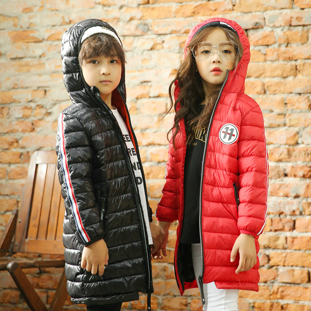 4-8 Years Girl Boys Coats Jacket 2017 Long Parkas Kids Hooded Outerwear Solid Down Warm Long Style Children Winter Clothes children winter coats jacket baby boys warm outerwear thickening outdoors kids snow proof coat parkas cotton padded clothes