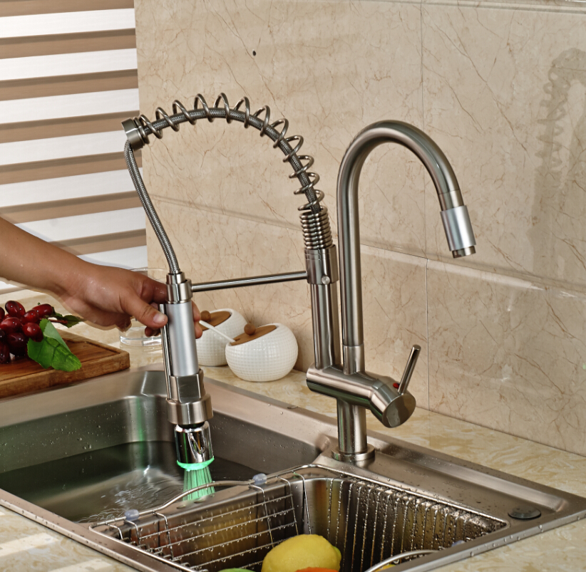 Factory Direct Sale Single Hand Spring Kitchen Sink Faucet Swivel Mixer Taps With LED Nickel Brushed