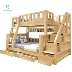 Bois de pin véritable de lit superposé d'enfants de mode de Louis avec des tiroirs d'escalier d'échelle sûrs et forts