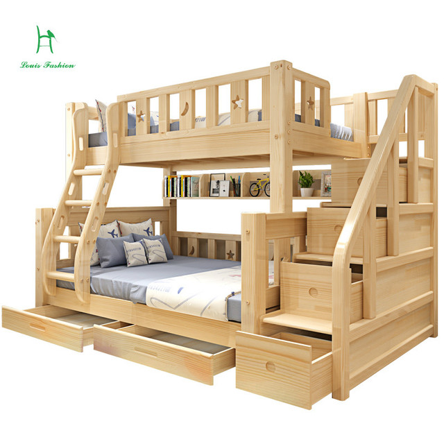 Louis Fashion Children Bunk Bed Real Pine Wood With Ladder Stair
