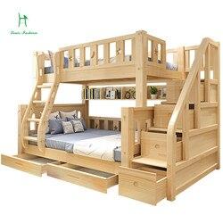 Louis moda crianças beliche cama de madeira de pinho real com escada gavetas seguro e forte