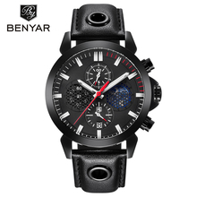 Relogio Masculino BENYAR Sport Watch Mens Top Brand Luxury Chronograph Quartz Wrist Watch Moon Phase Clock Men saat Reloj Hombre relogio masculino benyar fashion gold chronograph sport watch mens top brand luxury date quartz wrist watches clock man reloj