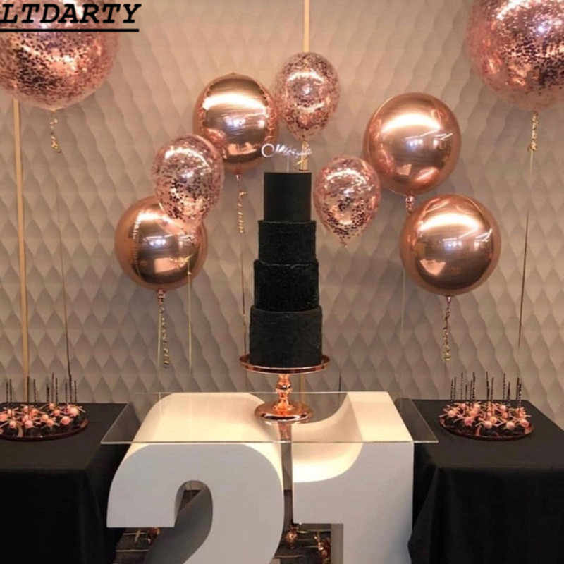 20pcs 10/18/22/ 32 inch Rose Gold Silver 4D Round Sphere Shaped Foil Balloon Wedding Marriage Birthday Party decoration Supplies