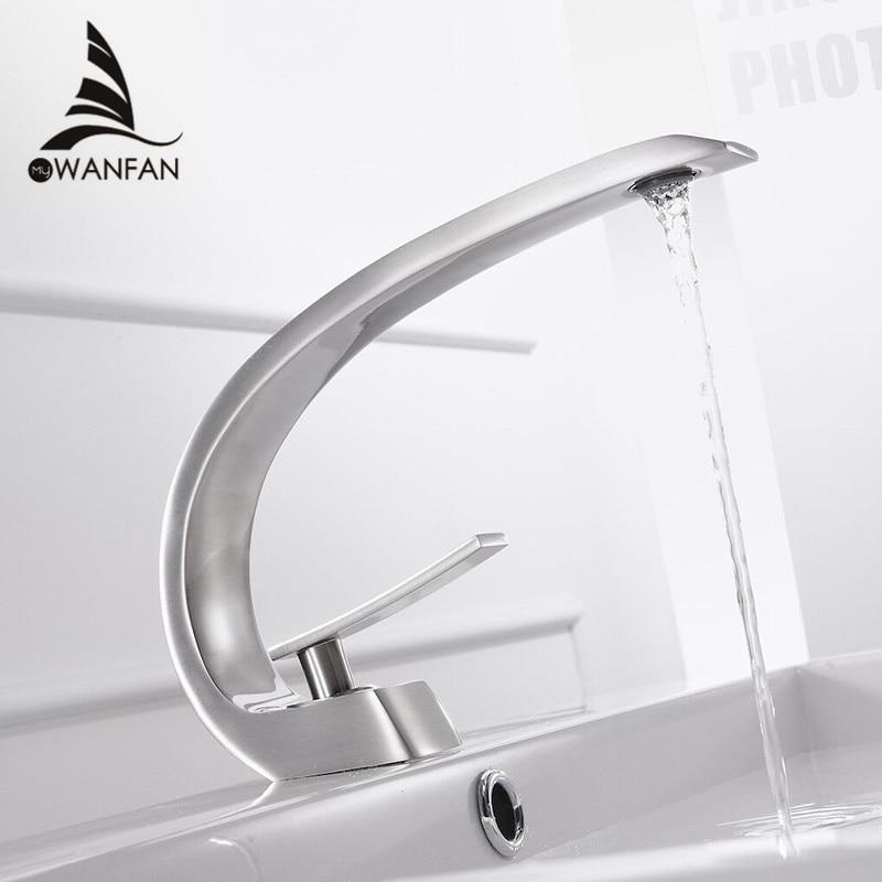 Basin Faucets Modern Bathroom Mixer Tap Brass Washbasin Faucet Single Handle Single Hole Elegant Crane For