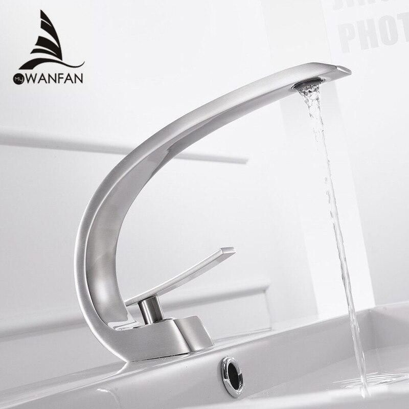 Cuenca grifos moderno cuarto de baño grifo mezclador de lavabo grifo sola manija agujero elegante grúa para cuarto de baño LH-16990