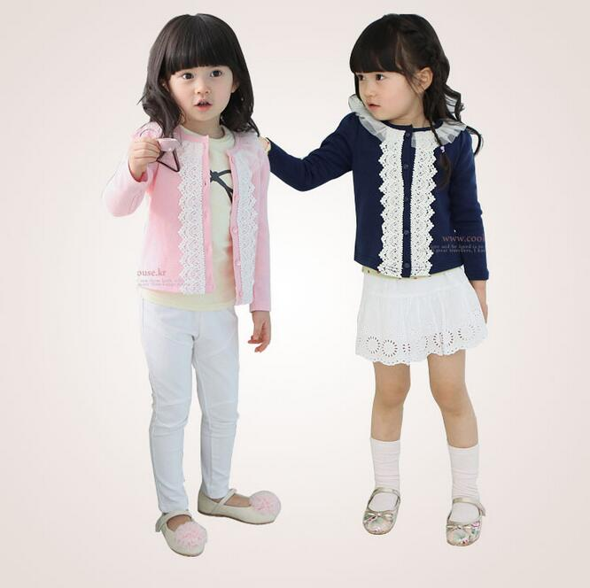 High Quality Kids Cardigan Spring Outcoat Cotton Lace Long Sleeve O-Neck T Shirts Cardigans girls Clothes Tops Free Shipping