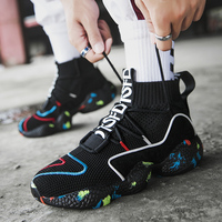 2019 Socks Boots ShoesMen Lightweight High Top Men Wedges Platform Sneakers Breathable Slip On Flats Shoes Man Vulcanized Shoes