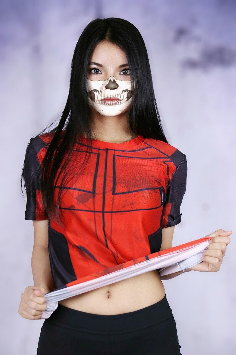 Cool Superhero Deadpool Sexy Girls Crossfit Short Sleeve T -1705