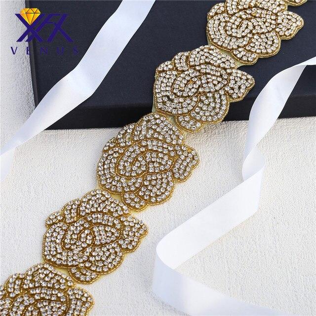 XINFANGXIU 1 Yard Luxurious Gold Rhinestone Belt Flower Crystal Applique  Wedding Dress Evening Dress Sash Waist ca73675a985d