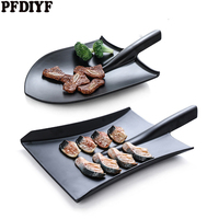Black Creative Dish Grill Personality Shovel Styling Imitation Porcelain Special Restaurant Barbecue Plate Melamine Tableware