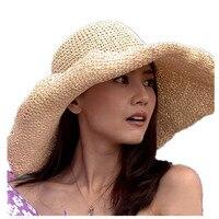Women Straw Sun Visor Wide Large Brim Floppy Fold Swimming Beach Bohemia Sun Hat For Holiday