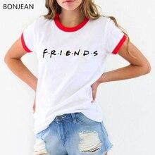 2019 Summer Women T Shirt Friends Letter Print T-shirt femme Casual Short Sleeve Tops Tee O Neck t-shirt Female Camisetas Muje casual letter print jewel neck short sleeve tee for women