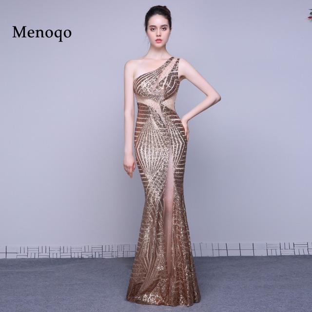 Luxury Long Sequin Real Evening Dresses Mermaid One shoulder Evening ...