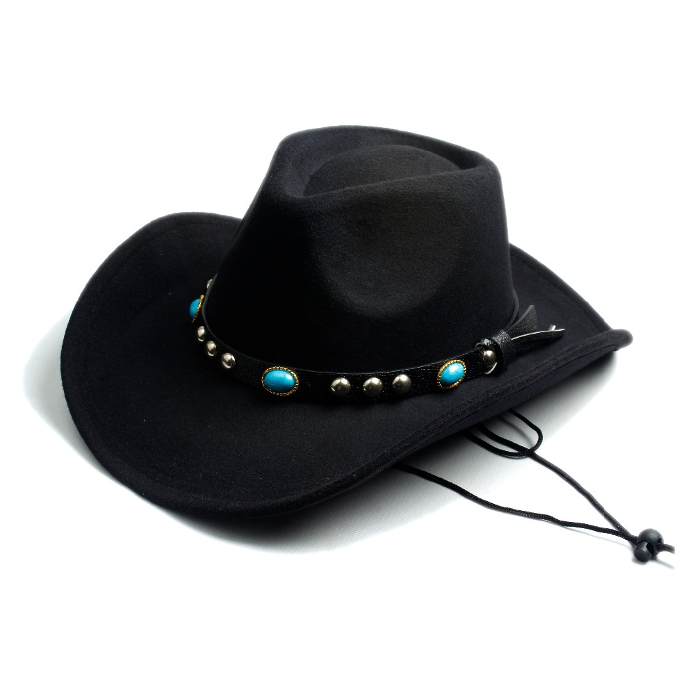 a480b93d0d4 Men Women Fashion Wool Felt Fedora Hat Western Cowboy Cowgirl Cap Jazz hat  Sun Hat Toca Sombrero Cap with leather band 10