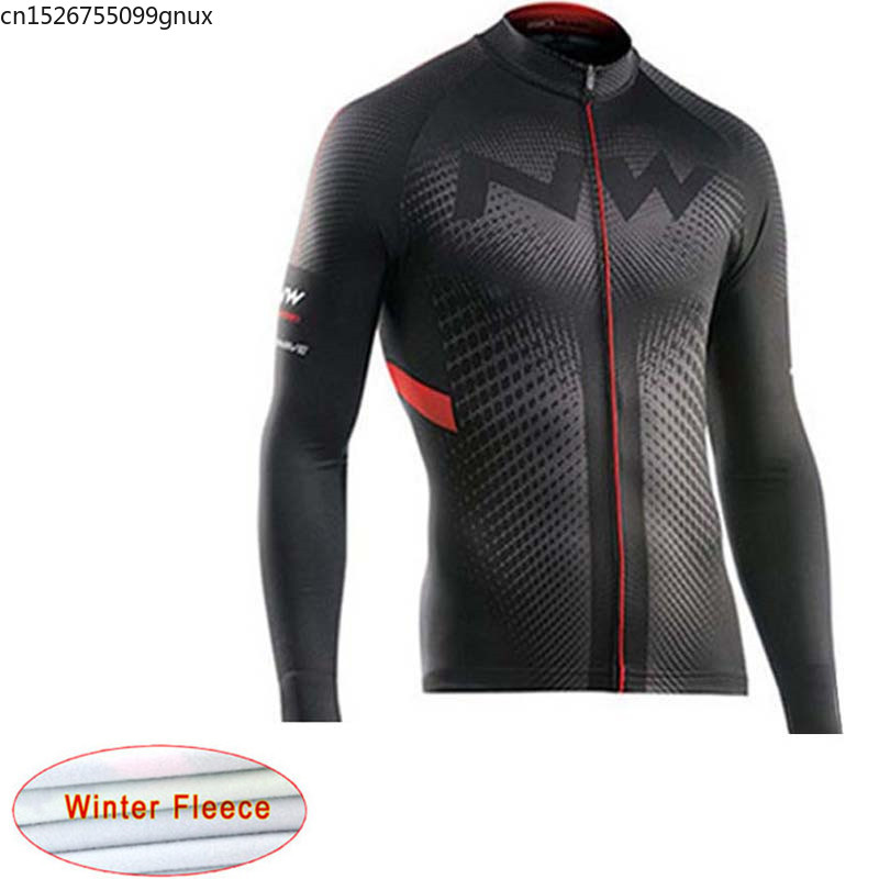 NW 2019 Winter Thermal Fleece Cycling Jersey Keep Warm Mountain Bicycle Racing Cycling Clothing Maillot Ropa Ciclismo Hombre C28(China)