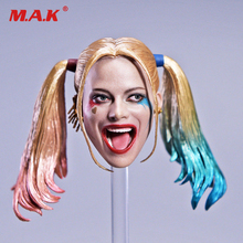 1/6 Harley Quinn Head Carving With Changable Hair Female Joker Head Sculpt Model for 12