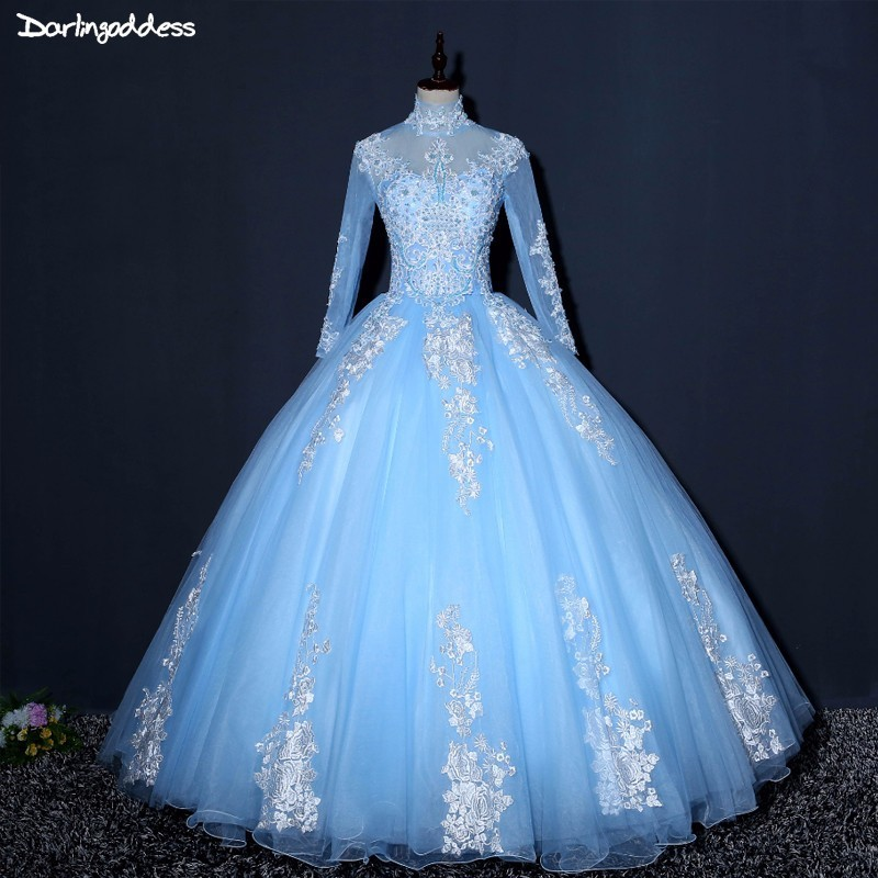 Vestido De Novia Long Sleeve Muslim Wedding Dresses Ball Gown High Neck Wedding Dress Skye Blue Appliques Lace Wedding Gowns